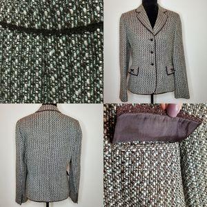 Tahari | Tweed Wool Brown Teal Aqua Now